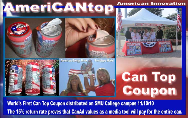 AMERICAN ENERGY DRINK | DRINK AMERICAN ENERGY | CAN TOP COUPON | ADVERCAN | CAN COVERS